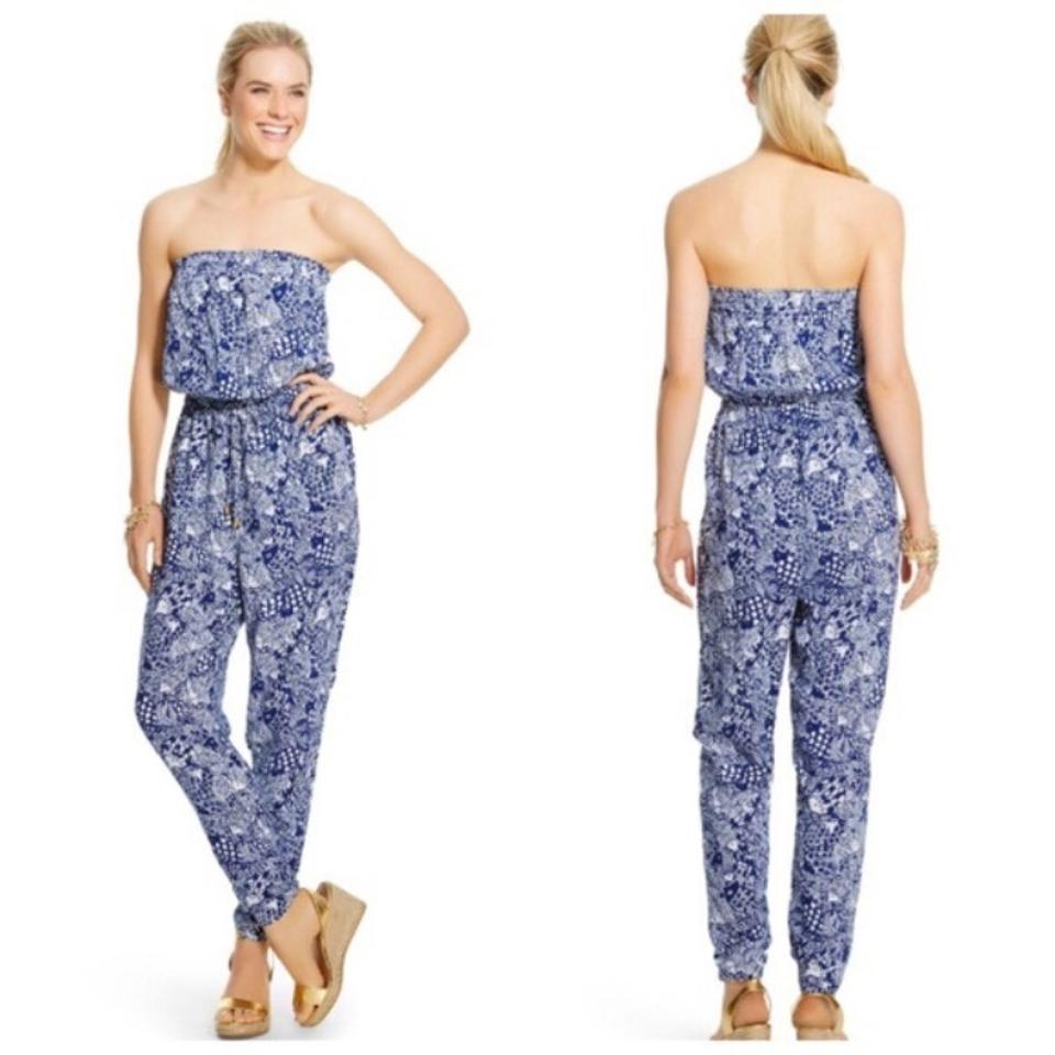 ea2714a6429 Lilly Pulitzer for Target Blue White Preppy Upstream Romper Jumpsuit ...