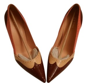 Guess By Marciano Patent Leather Stiletto Detail Chocolate, Peach, Pink, Orange, Brown Pumps