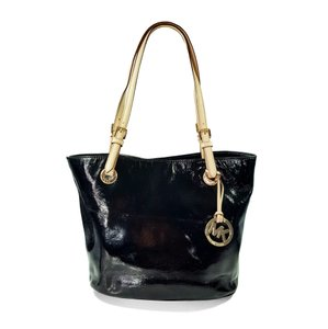 Michael Kors Patent Leather Gold Hardware Tote in Black