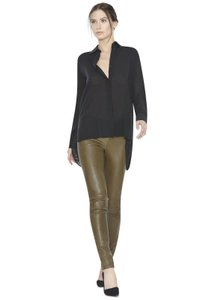 Alice + Olivia Leather Army Winter Chic Army Green Leggings