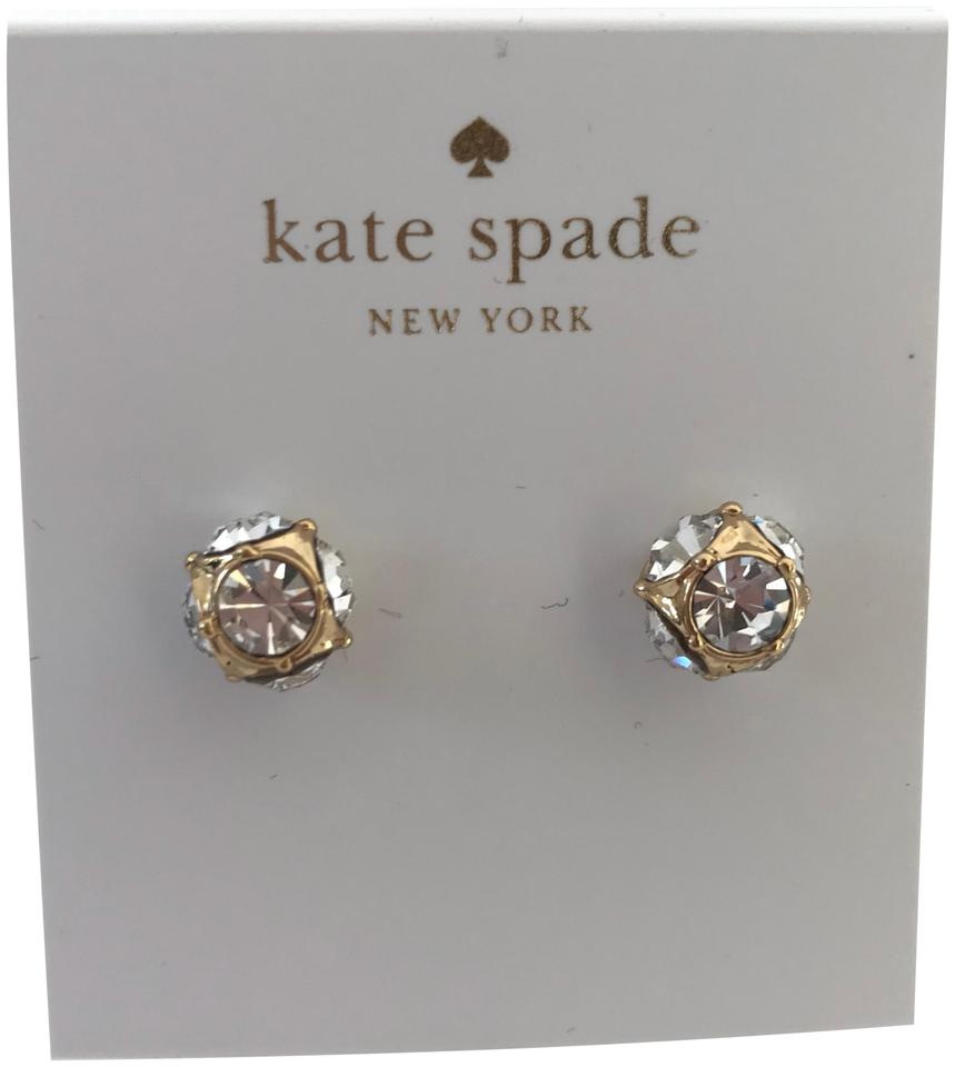 Kate Spade Nwt New York Gold Tone Clear Crystal Cer Stud Earrings