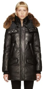 Mackage Leather Fur Hood Parka Coat