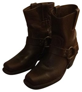 Frye Ankle Buckle Square Toe Brown Leather Boots