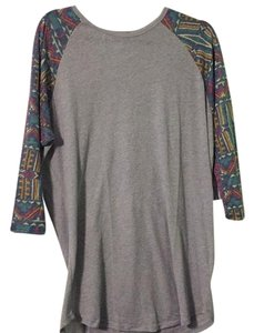 LuLaRoe T Shirt Grey with multicolored sleeves