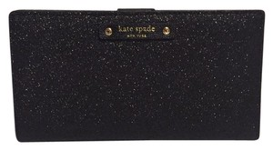 Kate Spade Nwt Kate Spade New York Stacy Black Shimmer Glitter Slim Bifold Wallet
