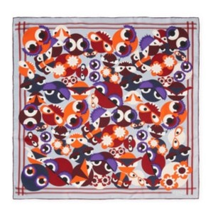 Fendi Silk Square Monster Scarf, Multicolor