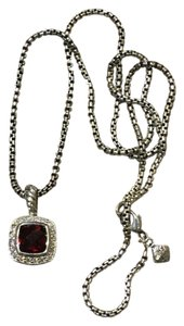 David Yurman Petite Albion Pendant Necklace with Pyrope Garnet and Diamonds