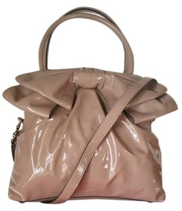 Valentino Bow Patent Leather Tote in Nude Tan