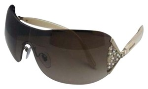 BVLGARI New BVLGARI Sunglasses 6061-B 325/13 Gold & Pearl Shield w/ Crystals