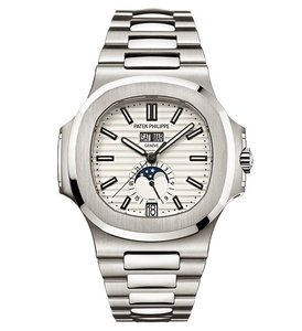 Patek Philippe Nautilus Silver Dial Stainless Steel Men's Mechanical