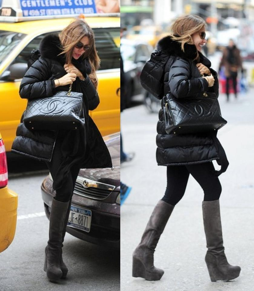 3897f5475dd6 Chanel Hobo Timeless Grand Shopping Gst Soft Quilted Jumbo Cc Logo 12a Black  Caviar Leather Tote - Tradesy
