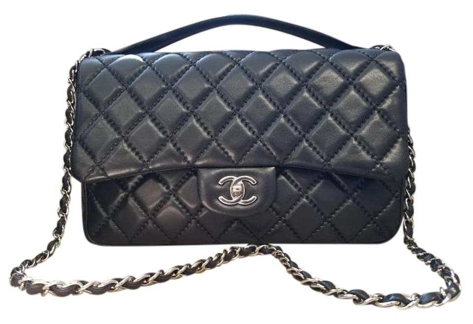e026d5145fb1 Chanel Classic Flap Pre-spring 2015 Easy Carry Black Lambskin Leather Cross  Body Bag