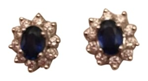Other White Gold Oval Sapphire and Diamond Cluster Earrings