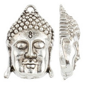Antique Silver Plated Accent Buddhist Jewelry Pendant
