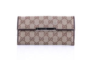 Gucci * Gucci Monogram Canvas Long Wallet