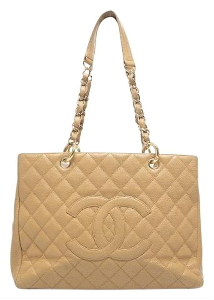4c43d1691a8d Chanel Shopping Tote Gst Grand Beige Caviar Leather Shoulder Bag ...