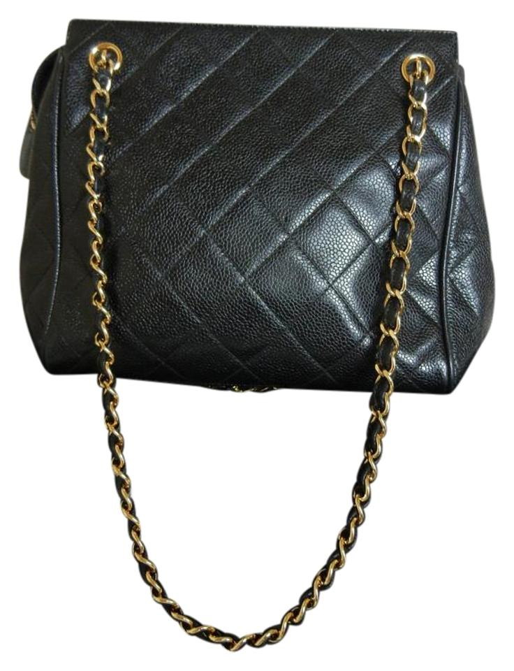 df445495ea60 Chanel Leather Vintage Tote Black with Gold Hardware Caviar Skin Shoulder  Bag