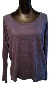 Eileen Fisher Knit Long Sleeve Top Blue and Grey