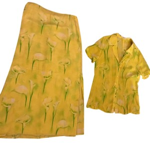 Escada Silk Matching Set Vintage Maxi Skirt Yellow