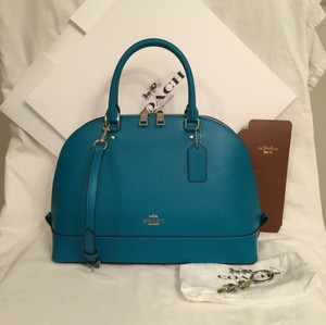 Coach New/nwt Key Chain Cross Body Dome Leather Handbag Satchel in Turquoise Blue Silver