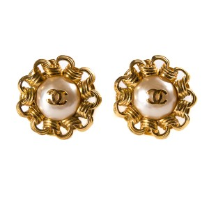Chanel Chanel Pearl & Gold-Tone Earrings