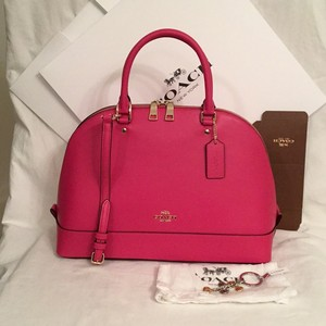 Coach Dome Leather Cross Body Satchel in Pink Ruby Gold