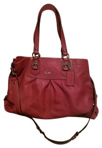 Coach Pink Leather Tote in watermelon pink