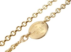 Tiffany & Co. Tiffany & Co Return To 18K Yellow Gold Oval Tag Chocker Necklace