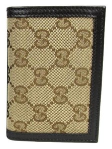 Gucci New Gucci Brown Leather Bifold Card Holder Canvas Design 307464 9463