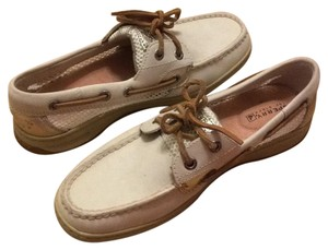 Sperry Off white with platinum metallic accents Flats
