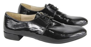 Prada Patent Leather Oxford Lace Up Black Flats