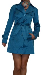 Jessica Simpson Trench Rain Jacket Happy Color Teal Trench Coat