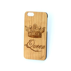 Case Yard NEW Cherry Wood iPhone Case with Queen Crown Design, iPhone 7+