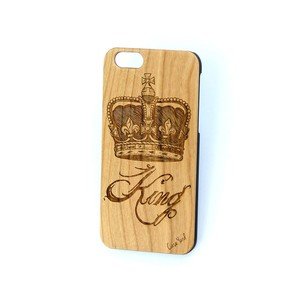 Case Yard NEW Cherry Wood iPhone Case with King Crown Design, iPhone 7