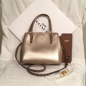 Coach Leather New/nwt Satchel in Gold Black Beige
