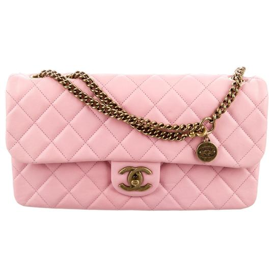 b6c253ad367121 Chanel Cc Crown Flap Classic Quilted Medium Small 13c Charm Logo Pink  Calfskin Leather Shoulder .