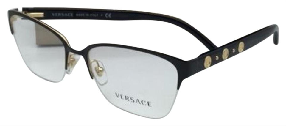 1b302b973dcb Versace New VERSACE Eyeglasses VE 1224 1342 53-17 Semi-Rimless Black & Gold  ...