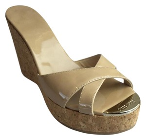 Jimmy Choo New Patent Leather Beige Wedges