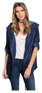 Other Hooded Utility Roll Sleeve Dark Denim Chambray Womens Jean Jacket