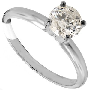ABC Jewelry 14kt White Gold Solitaire Size 7 Set With One Genuine Brilliant Cut Diamond Weighing .90ct