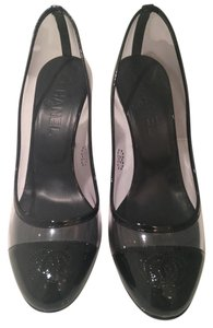 Chanel Black Leather Clear Stiletto Transparent Pumps