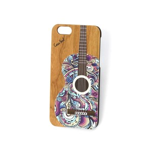 Case Yard NEW Cherry Wood iPhone Case with Colored Guitar, iPhone 7