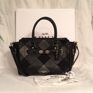 Coach Leather Patchwork Cross Body Key Chain Satchel in Black Silver