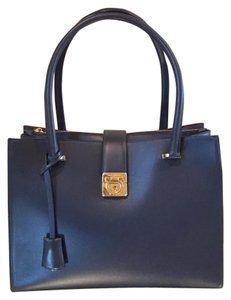 Salvatore Ferragamo Leather Designer Blue Tote in Navy