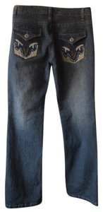 Vanilla Star Embroidered Boot Cut Jeans-Light Wash