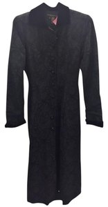 Donna Karan Damask Wool Silk Velvet Quilted Coat