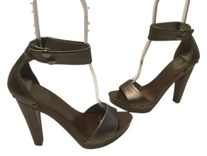 Diane von Furstenberg Wood Base Grommets Bronze leather wide ankle strap platform Sandals
