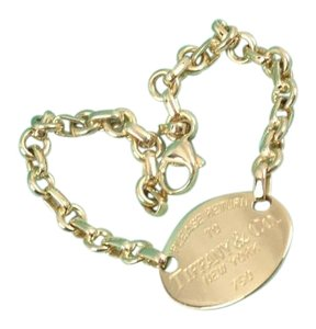 Tiffany & Co. Authentic Return To Tiffany & Co 18K Gold Oval Tag Charm Bracelet