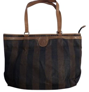 Fendi Excellent Vintage Multiple Compartment Xl Satchel/tote Perfect For Everyday Great To Mix & Match Tote in wide brown/black striped print coated canvas & camel leather