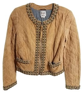Haute Hippie Chain Suede Crop Light Brown Leather Jacket